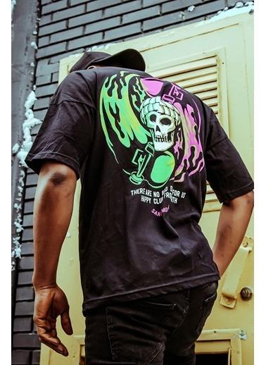 XHAN Siyah Önü & Arkası Baskılı T-Shirt 1Kxe1-44604-02 Siyah